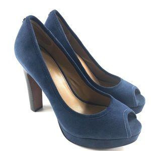 Coach Breana Suede Peep Toe Platform Heels 8.5
